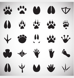 Animal foot prints icons set on white background vector