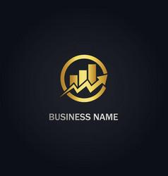 arrow graph progress business logo vector image