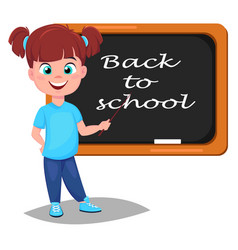 Back to school cute girl standing near blackboard vector