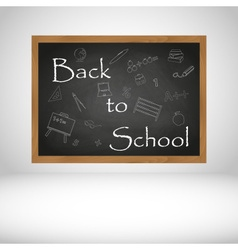 Back to school text on black wooden chalkboard vector