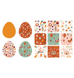 Boho easter concept design seamless patterns and vector