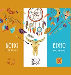 Boho shop banners vector