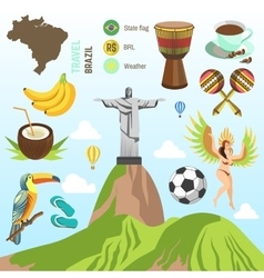 Brazil and Rio symbols vector