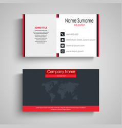 business card in blue red design with fine strips vector image