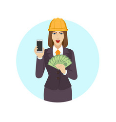 businesswoman in construction helmet holding a vector image