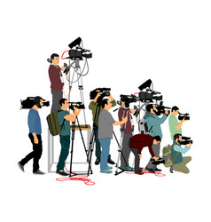 Cameraman crew follows event isolated on white vector
