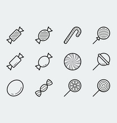 candy icon set in thin line style vector image