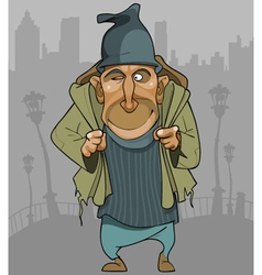 Cartoon man in ragged clothes with a backpack vector