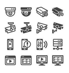 Cctv icon set vector