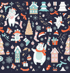 characters and christmas elements seamless pattern vector image