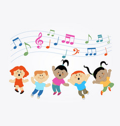 children who are jumping and singing vector image