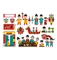 Chinese new year traditional folk holiday set vector
