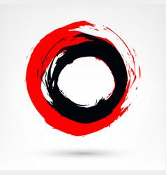 Circle brush stroke black and red brushstroke vector