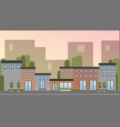 city building houses town view silhouette skyline vector image