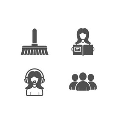 Cleaning mop woman read and support icons group vector