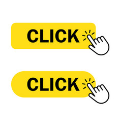 click button with hand vector image