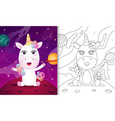 Coloring book for kids with a cute unicorn vector