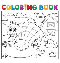 coloring book turkey bird in pan theme 2 vector image