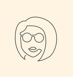 continuous line face in sun glasses drawing vector image