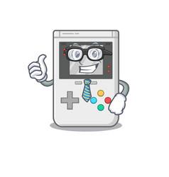 Cool businessman handheld game scroll cartoon vector