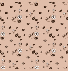 cup of coffee with grains flower on a brown vector image