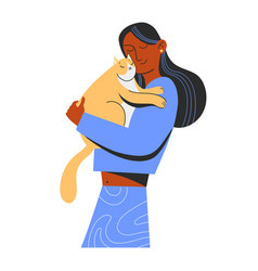 cute happy girl and flussy cat hugs care vector image