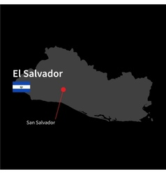 Detailed map of El Salvador and capital city San vector