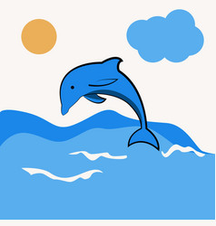 Dolphin jumping in the water vector