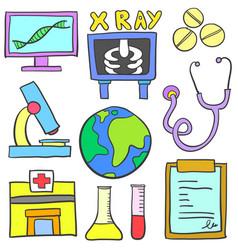 Doodle of element medical set vector
