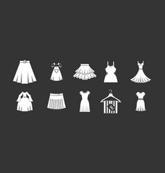 dress skirt icon set grey vector image