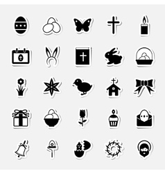 Easter icons set shape sticker vector