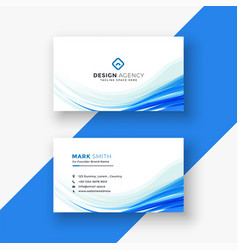 Elegant white business card with blue wave vector
