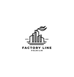 Factory industry building modern logo design line vector