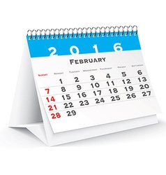 February 2016 desk calendar vector image