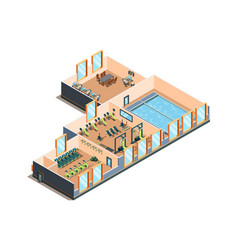 Fitness center gym club and pool interior rooms vector