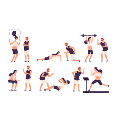 fitness trainer male personal coach helps woman vector image