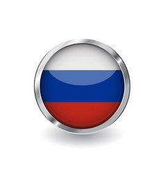 flag of russia button with metal frame and shadow vector image