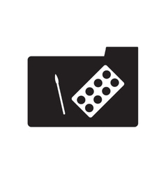 Flat icon in black and white brush folder vector