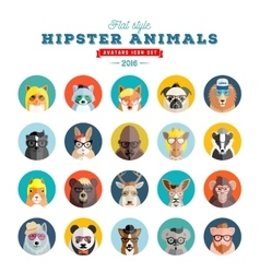 Flat Style Hipster Animals Avatar Icon Set vector
