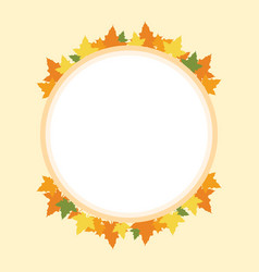 Frame thanksgiving theme with maple and pumpkin vector