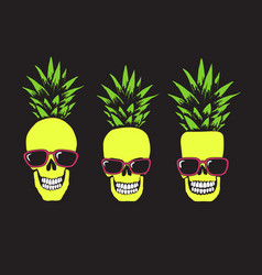 Funny skulls like a pineapple vector