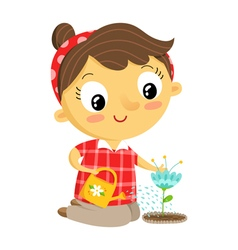 Girl gardener cartoon character isolated on white vector image