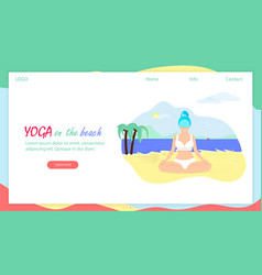 girl in lotus position sit on sea beach body love vector image