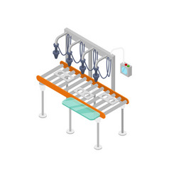 Goods assembly line isometric 3d icon vector
