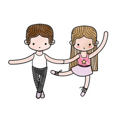 Grated couple practice ballet with professional vector