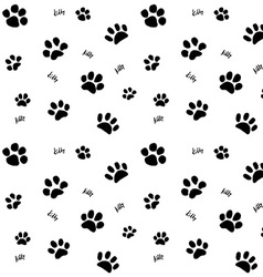 Hand drawn sketch cats paw and traces seamless vector