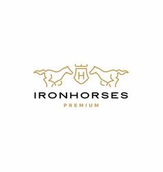 horse coat arms logo icon vector image