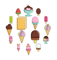ice cream icons set sweet cartoon style vector image