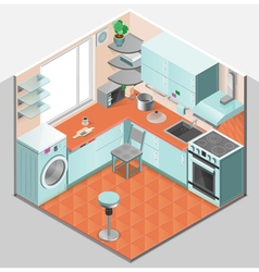 Kitchen Interior Isometric Template vector image