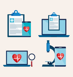 Laptop and smartphone with telemedicine icons vector